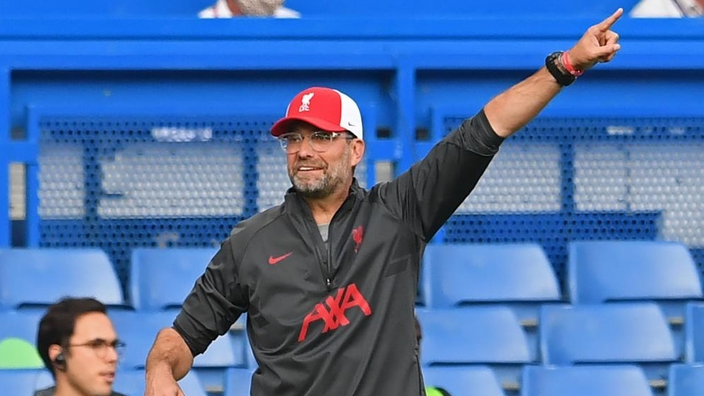 Klopp, dando instrucciones durante el partido de ayer. Neil Hall