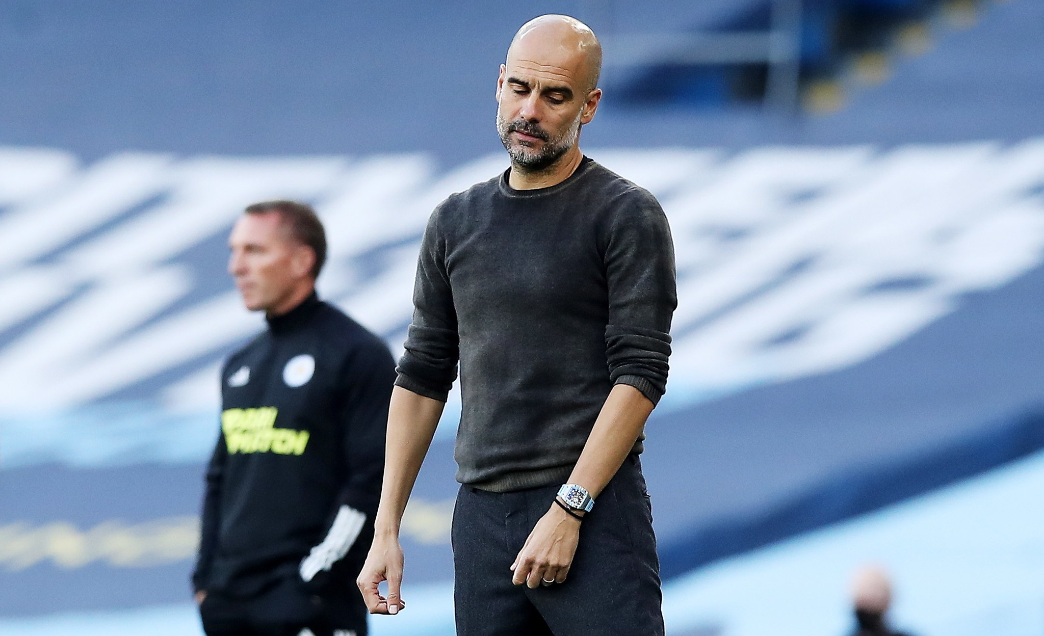 Manchester (United Kingdom), 27/09/2020.- Manchester City manager Pep lt;HIT gt;Guardiola lt;/HIT gt; during the English Premier League match between Manchester City and Leicester City in Manchester, Britain, 27 September 2020. (Reino Unido) EFE/EPA/Martin Rickett / POOL EDITORIAL USE ONLY. No use with unauthorized audio, video, data, fixture lists, club/league logos or live services. Online in-match use limited to 120 images, no video emulation. No use in betting, games or single club/league/player publications